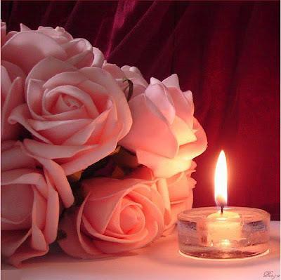 bougie et roses